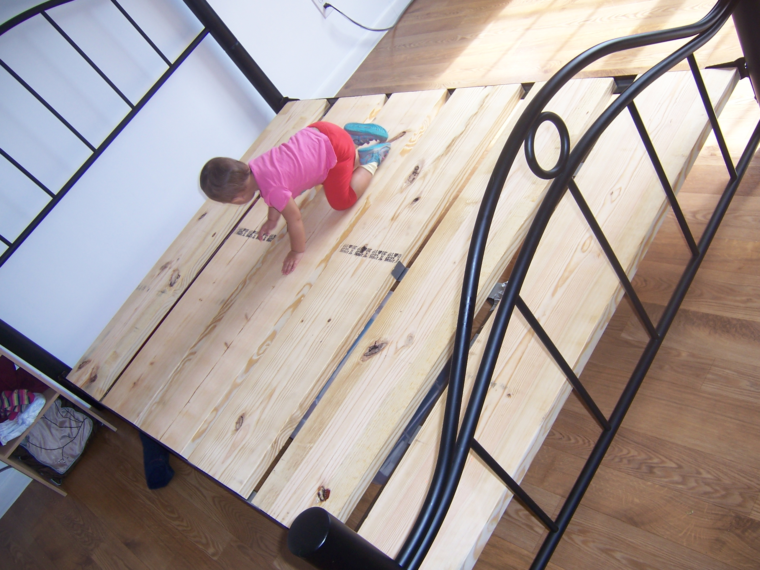 transforming a traditional bed frame into a platform bed