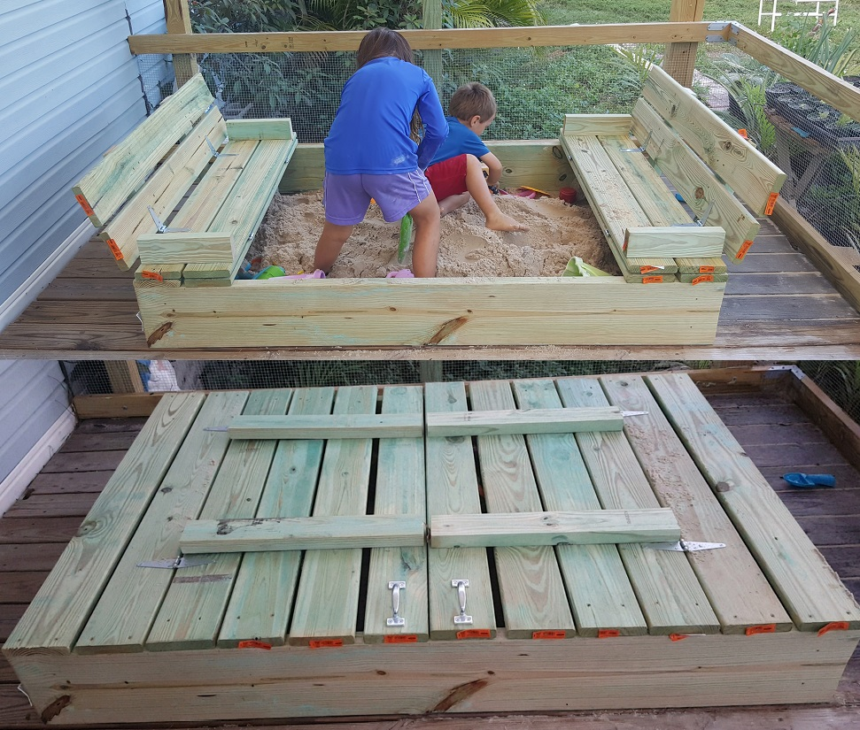 Diy covered sandbox with seats diy do it your self for Sandbox with built in seats plans